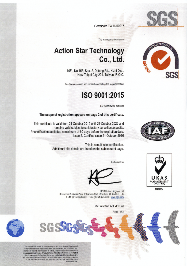 ISO 9001:2015 certificate for 2019 to 2022; page 1