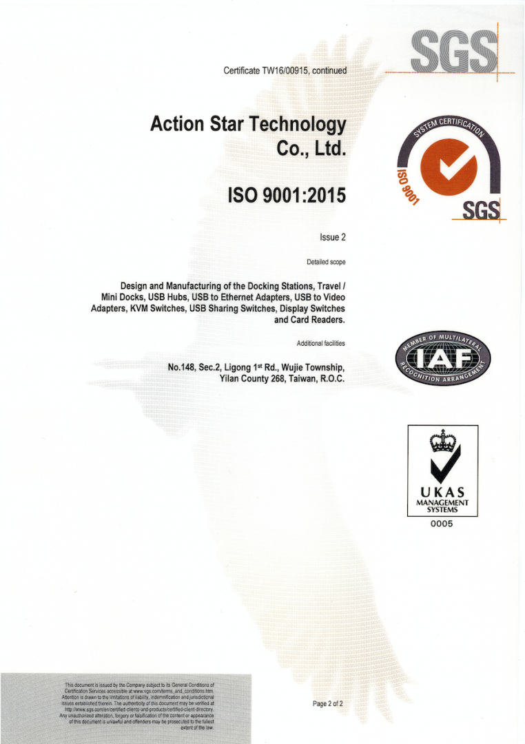 ISO 9001:2015 certificate for 2019 to 2022; page 2